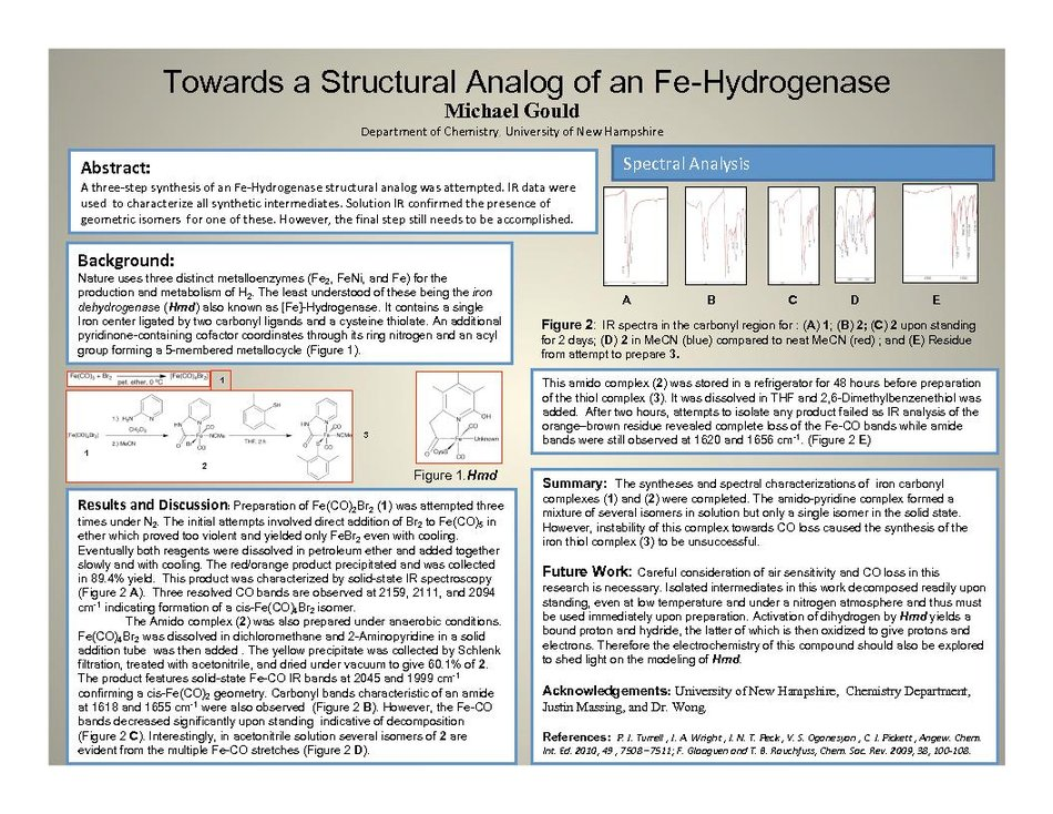 Towards A Structural Analog Of An Fe-Hydrogenese by EdWong