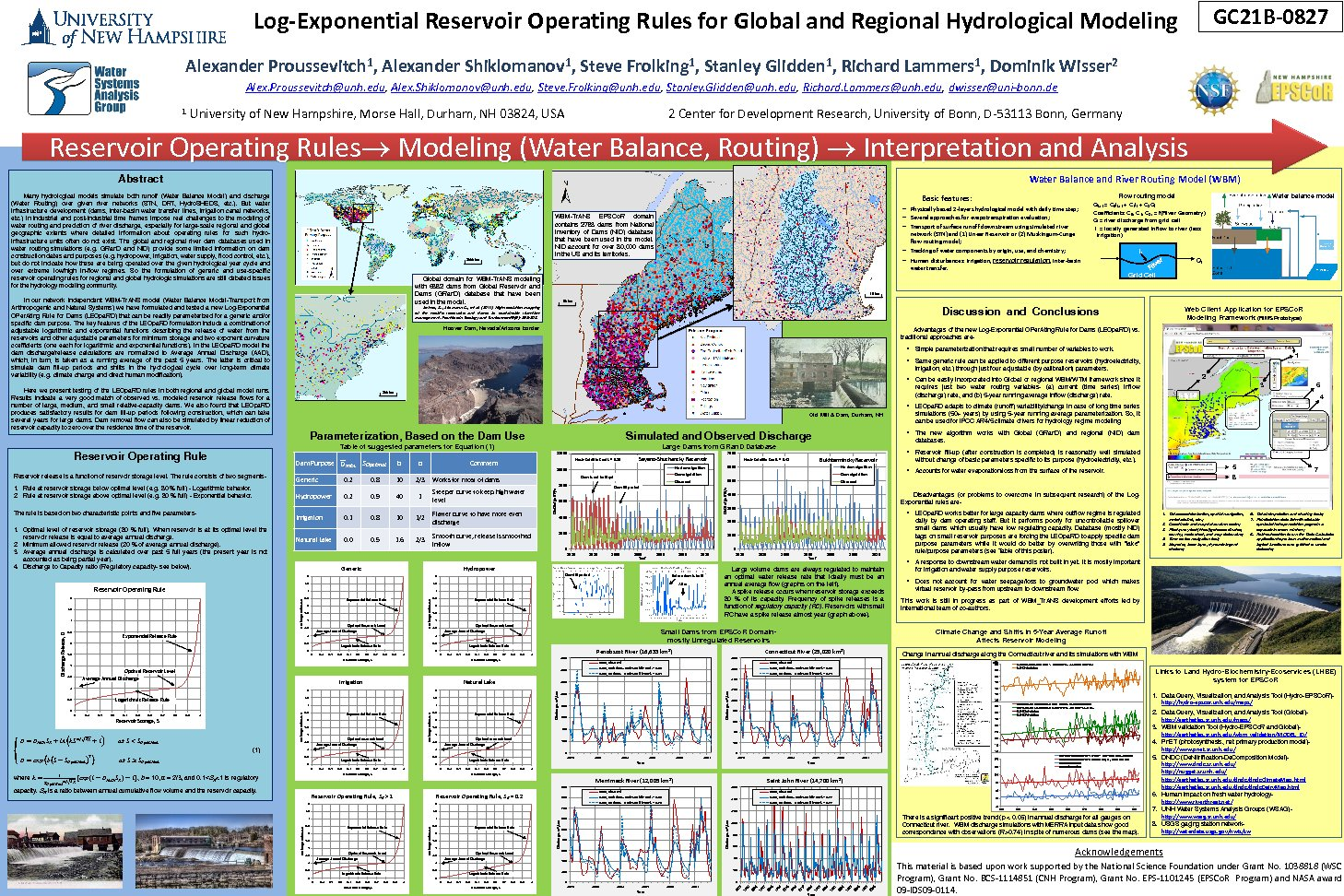 Log-Exponential Reservoir Operating Rules For Global And Regional Hydrological Modeling by alexp