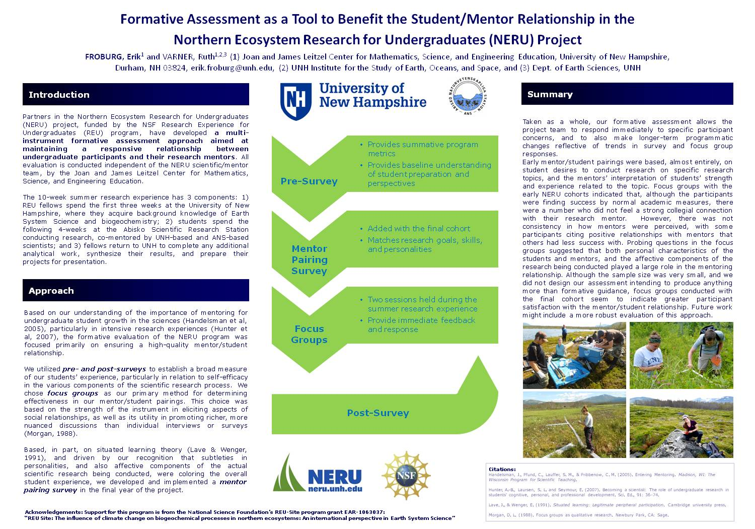 Formative Assessment As A Tool To Benefit The Student/Mentor Relationship In The  Northern Ecosystem Research For Undergraduates (Neru) Project by efroburg