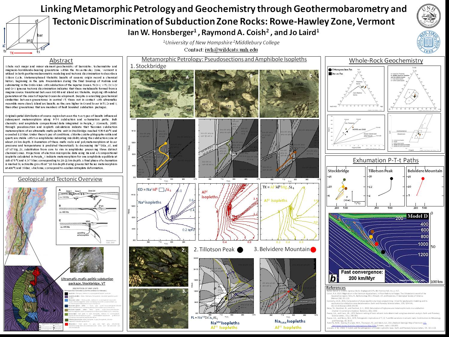 Linking Metamorphic Petrology And Geochemistry Through Geothermobarometry And Tectonic Discrimination Of Subduction Zone Rocks: Rowe-Hawley Zone, Vermont by iwh
