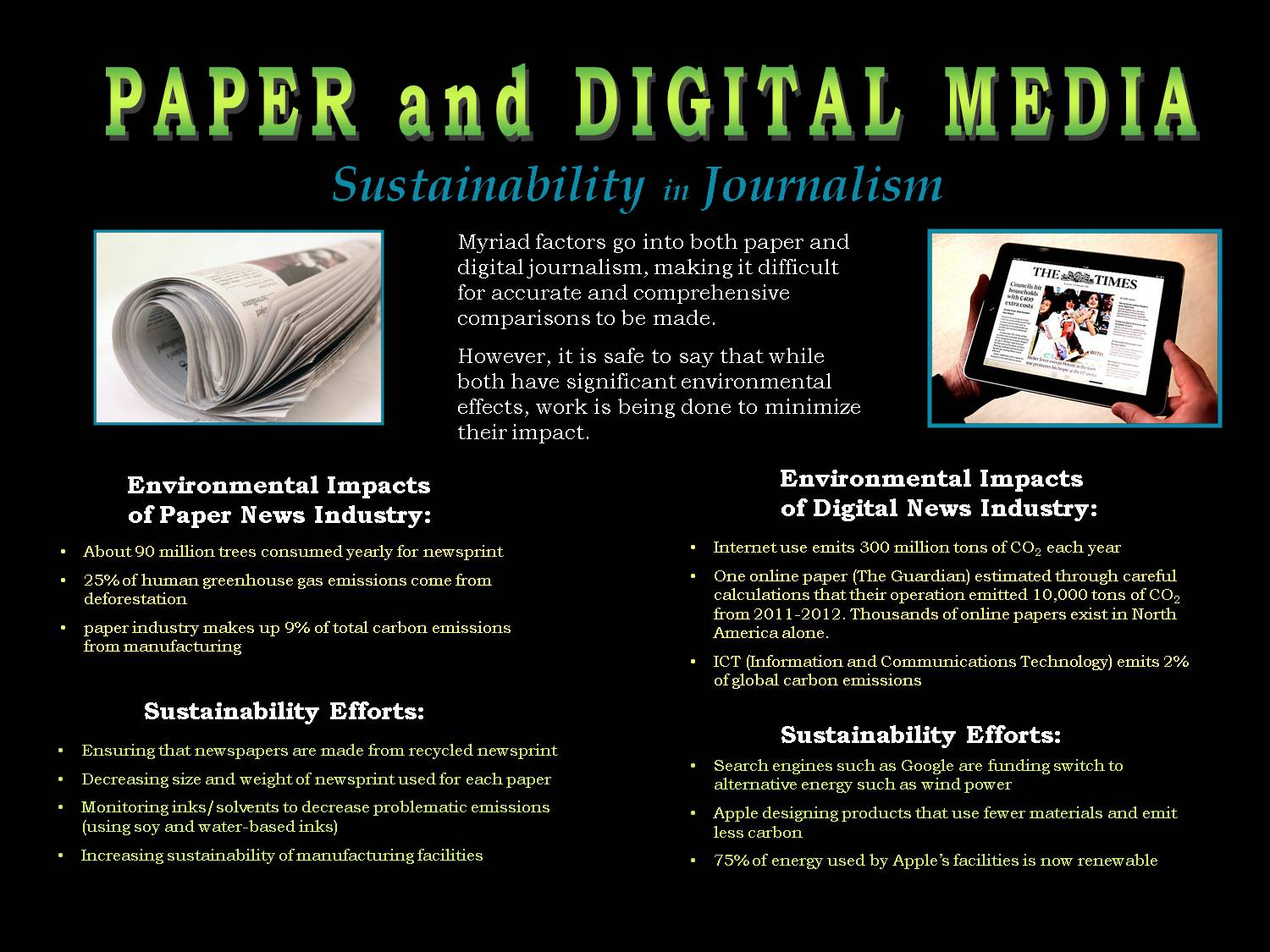 Paper And Digital Media: Sustainability In Journalism by kla223