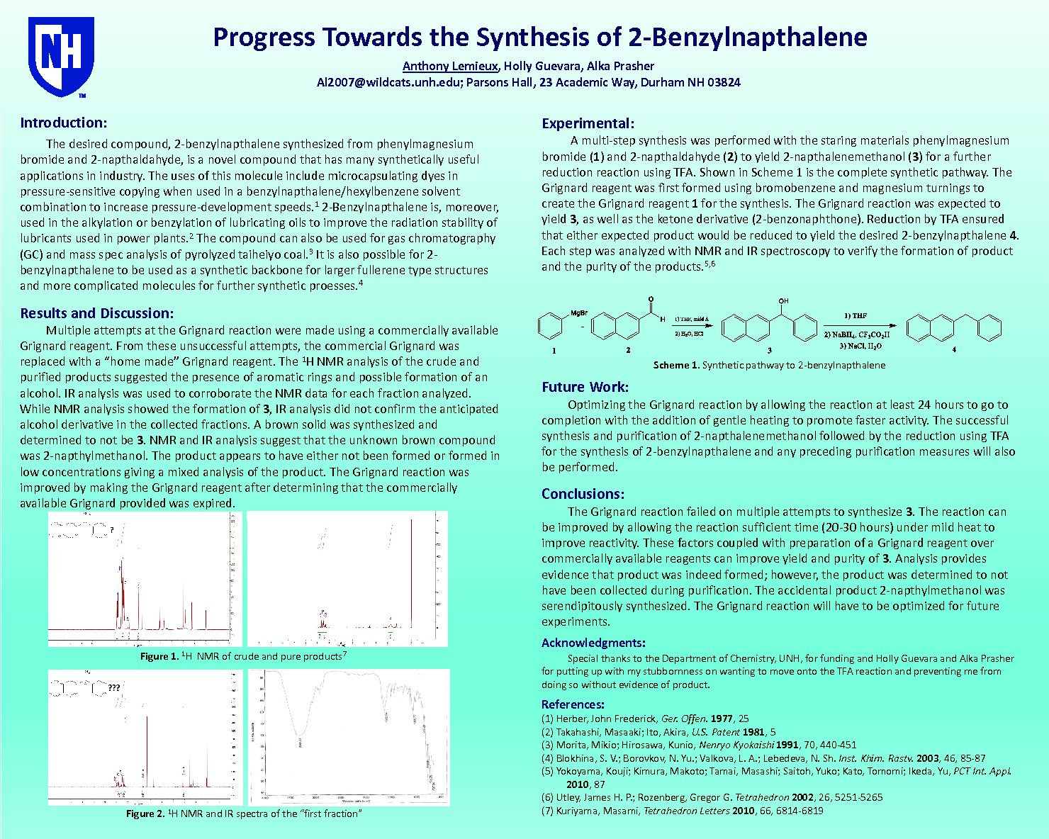 Progress Towards The Synthesis Of 2-Benzylnapthalene by Al2007