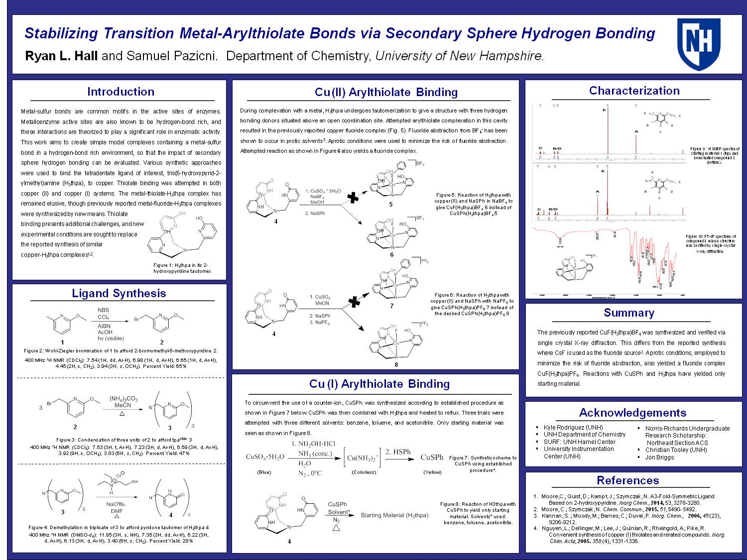 Stabilizing Transition Metal-Arylthiolate Bonds Via Secondary Sphere Hydrogen Bonding by rll367