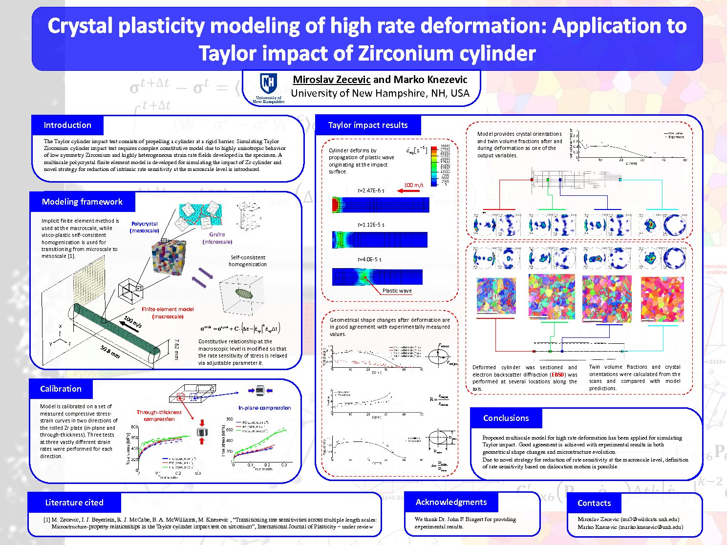 Crystal Plasticity Modeling Of High Rate Deformation: Application To Taylor Impact Of Zirconium Cylinder by mz3