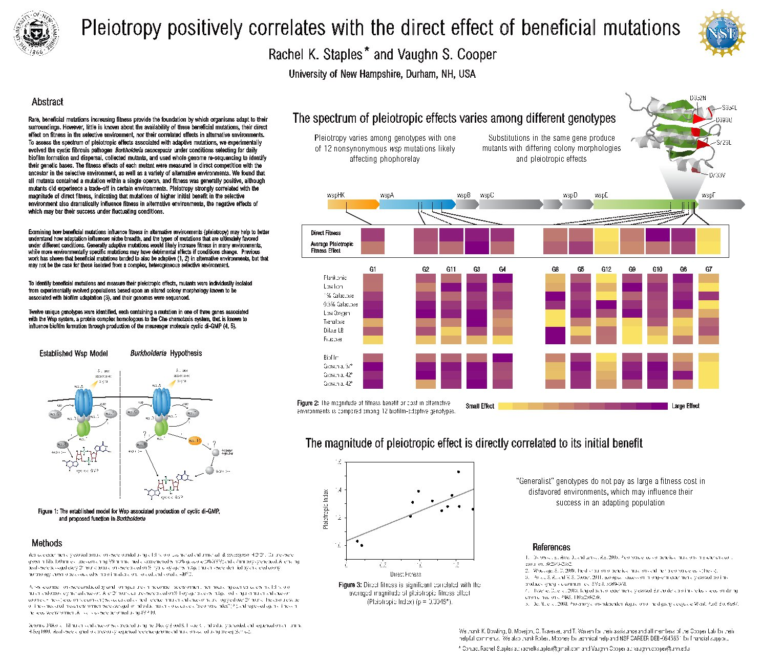 Pleiotropy Positively Correlates With The Direct Effect Of Beneficial Mutations by rs7