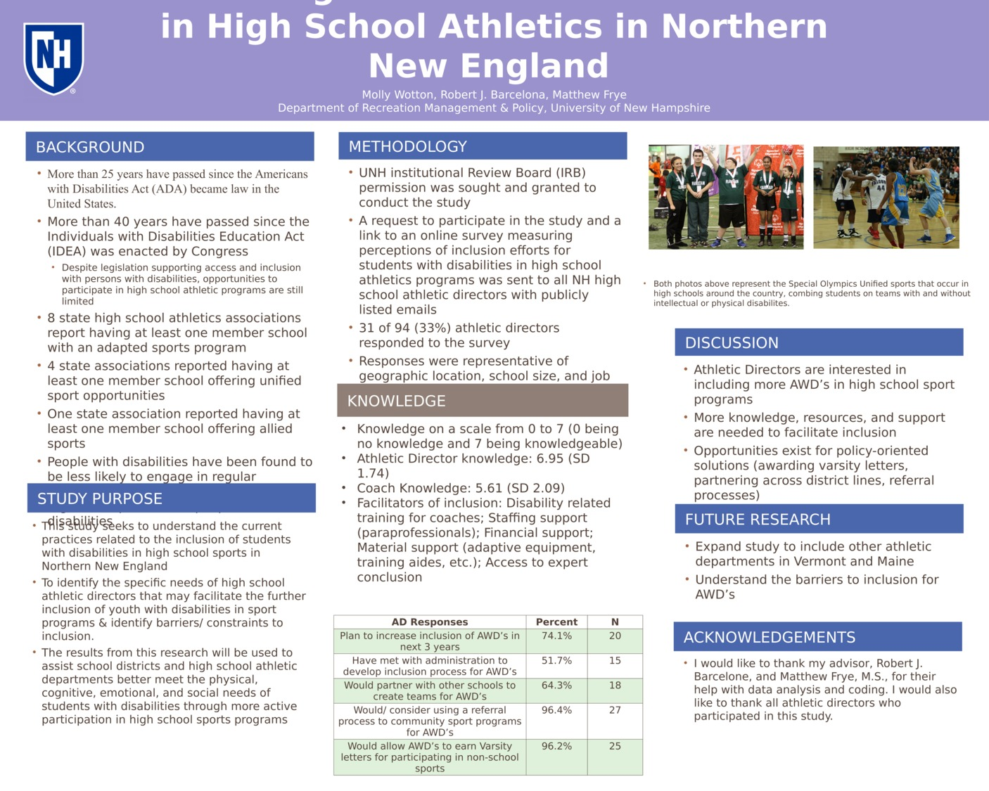 Including Students With Disabilities In High School Athletics In New Hampshire by mlw2005