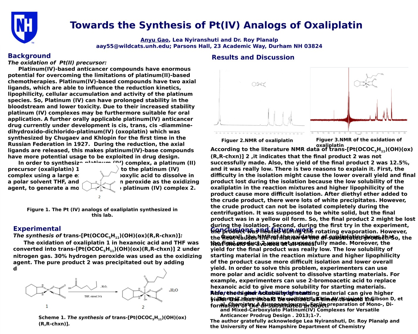 Towards The Synthesis Of Pt(Iv) Analogs Of Oxaliplatin by aay55