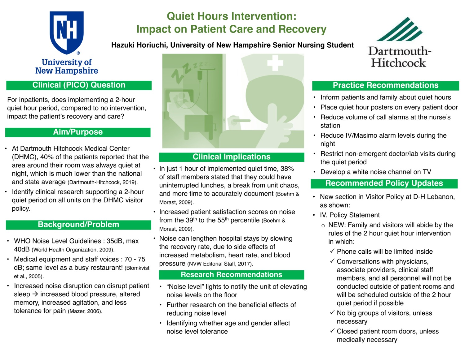 Quiet Hours Intervention: Impact On Patient Care And Recovery by hh1009