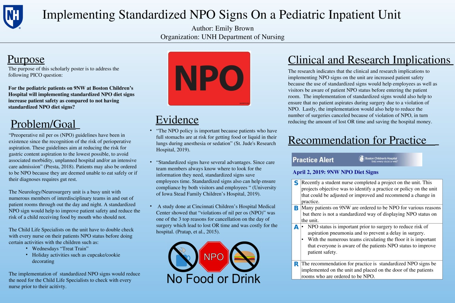 Implementing Standardized Npo Signs On A Pediatric Inpatient Unit  by eab1005