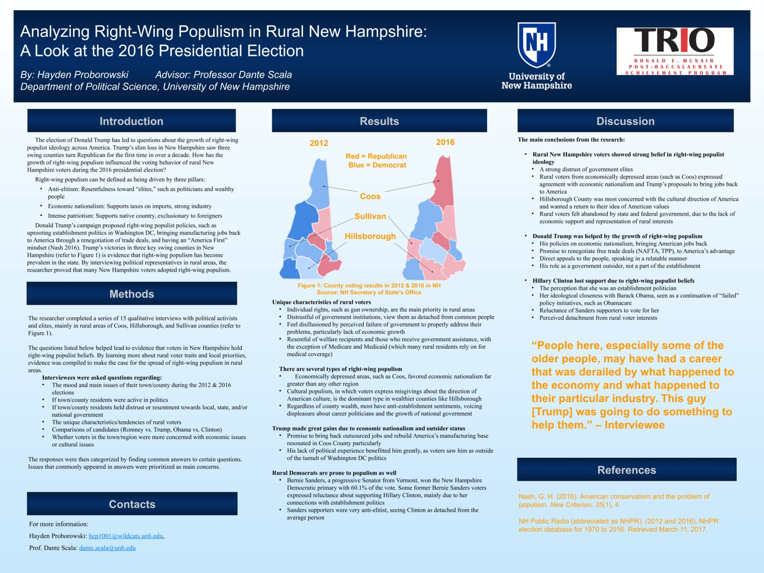 Analyzing Right-Wing Populism In Rural New Hampshire: A Look At The 2016 Presidential Election by hcp1001