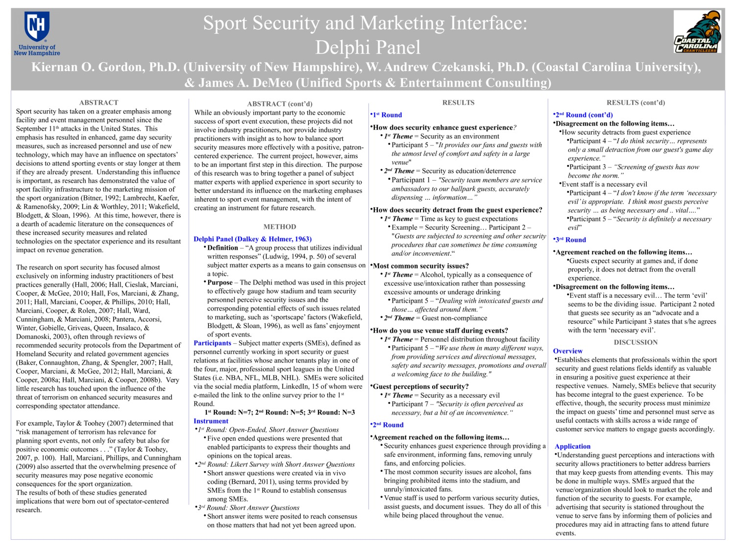 Sport Security And Marketing Interface: Delphi Panel by kog2003